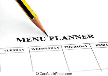 menú, planificador