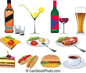 menú, restaurante, conjunto, iconos