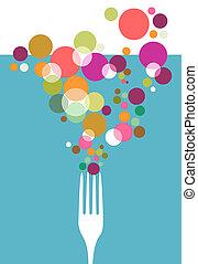 menú, restaurante, cubiertos, design.