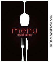 menú restaurante, design., alimento y bebida, plano de fondo