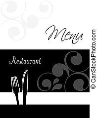 menú restaurante, diseño, -, plantilla, folleto