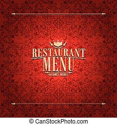 menú restaurante, diseño, tarjeta roja