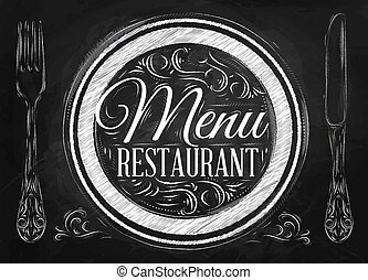 menú restaurante, tiza, letras