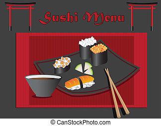 menú, sushi