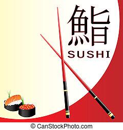 menú, sushi, tarjeta