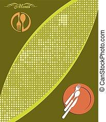 menú, tarjeta, diseño, plantilla