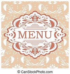 menú, vector, diseño, plantilla, restaurante
