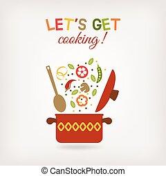 menú, vegetariano, receta, o, libro, olla, vegetales,...