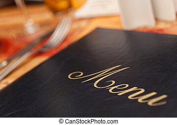 menú, y, cubiertos, en, un, restaurante, tabla