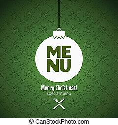 menükarte, besondere, weihnachten, geschirr