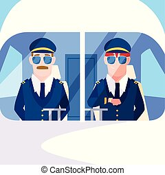 men airplane pilots in the cockpit