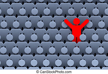 men among crowd of people - the one red standing men among...