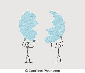 men and divided blue circle