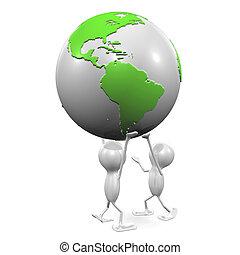 Men and Globe