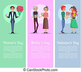 Men and Grandpa with Gifts and Bouquets for Women