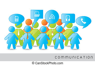 communication - men and woman signs with communication signs...