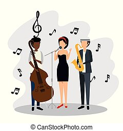 men and woman with music signs notes