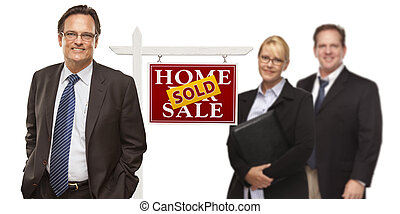 Men and Woman with Real Estate Sign Isolated - Businessmen...