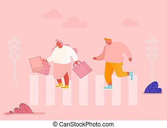 Men and Women Characters Hurry at Work on Urban Background with Traffic Lights and Crosswalk Moving by Road. Pedestrians People Walking on City Street, Lifestyle. Cartoon Flat Vector Illustration