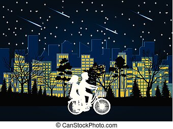 Men and Women cycle on the road at night. the stars are full of sky. the city is lit by beautiful light bulb. romantic. love illustrations vector