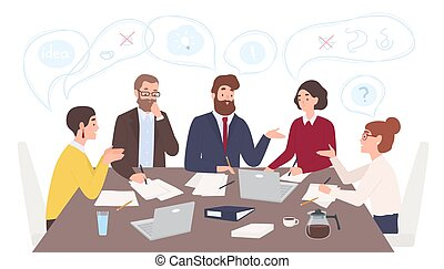 Men and women dressed in business clothes sitting at table and discussing ideas, exchanging information, solving problems. Brainstorm or group discussion. Cartoon vector illustration in flat style.