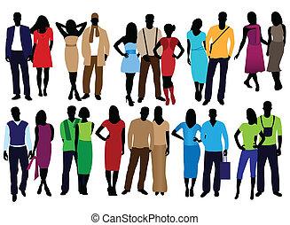 men and women fashion - set of fashion people