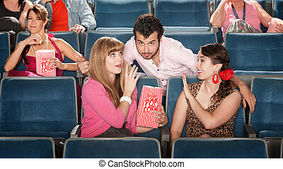 Men and Women Flirting in Theater - Flirtacious man with 2 ...