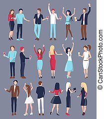 Men and Women Icon Set Vector Illustration