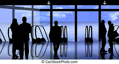 men and women in airport - people in airport