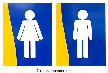 Men and Women of toilet sign isolated on white
