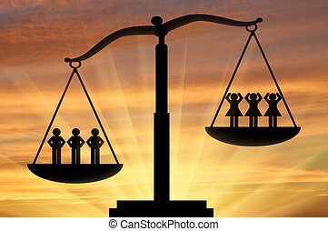 Concept of gender inequality - Men and women on scales....