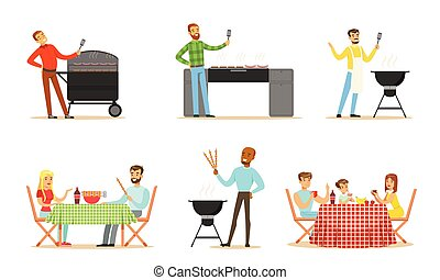 Men and women on the barbecue. Vector illustration.