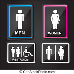 black men and woman sign isolated over black background. vector