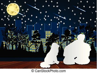 Men and women sit on the porch and their dogs sit next to them. Look at the meteor at night with the light from the city in front. Valentine's Day Concept. Romantic Vector illustrations