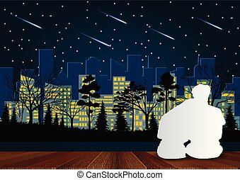 Men and women sit on the porch. Look at the meteor at night with the light from the city in front. Valentine's Day Concept. Romantic Vector illustrations