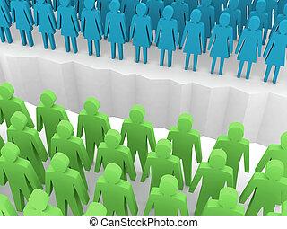 Men and women split on sides, separation crack. Concept 3D illustration.