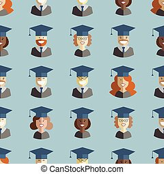 Men and Women Students Graduates Seamless Background