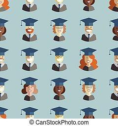 Men and Women Students Graduates Seamless Background