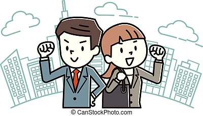 Men and women to the guts pose,business image