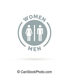Men and women toilet icon. Male and female restroom sign.