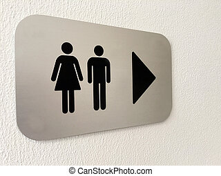 Men and women toilet sign on a white wall