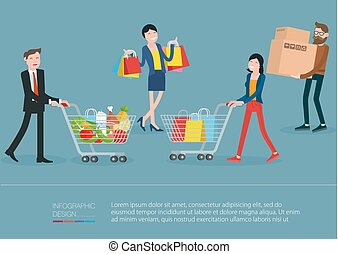 men and women walking with shopping bag and  shopping carts