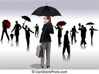 Men and women with umbrella silhouettes. Vector