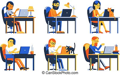 Men and women work with laptop remotely