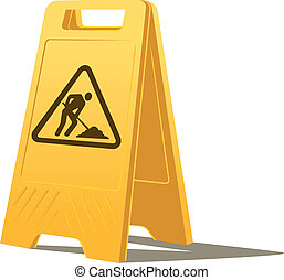 vector men at work standing caution sign on the ground