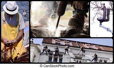 Men at work, collage