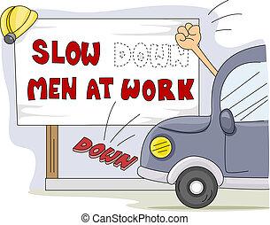 Men at Work - Illustration of a Motorist Knocking Down a...