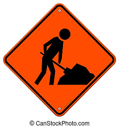 Men at Work Sign - Construction Ahead Orange Warning ...