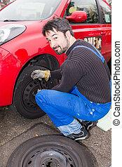 men at work - tire change