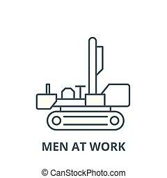 Men at work vector line icon, linear concept, outline sign, symbol
